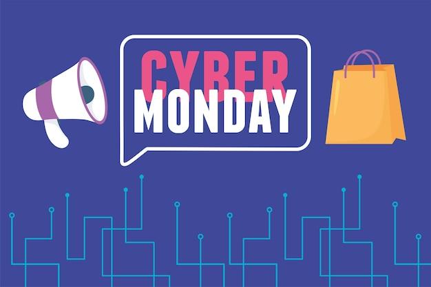 Cyber poniedziałek, torba na zakupy z megafonem, handel elektroniczny
