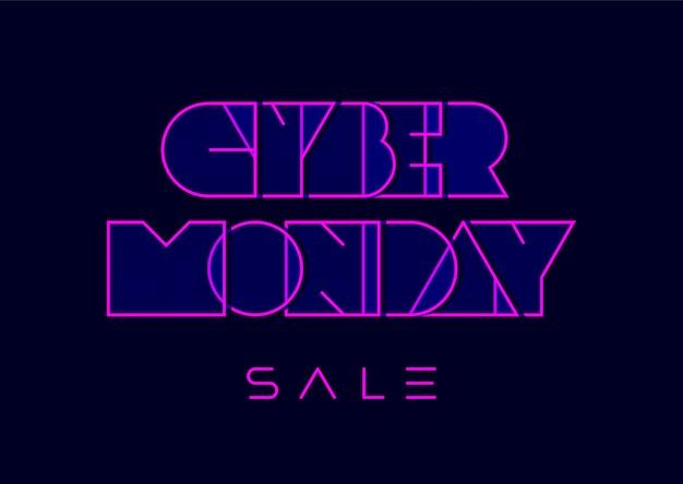 Cyber poniedziałek typografia w stylu retro futuryzmu na ciemnoniebieskim tle
