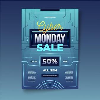 Cyber poniedziałek ulotka w realistycznym stylu
