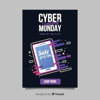 Cyber poniedziałek ulotki szablon z płaskim projektem