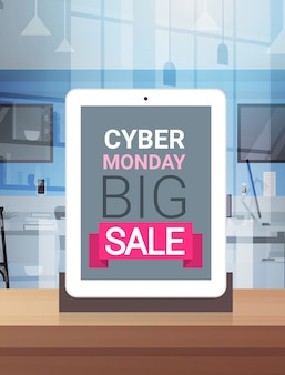 Cyber poniedziałek znak na ekranie tabletu cyfrowego duży projekt transparentu sprzedaży
