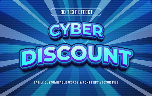 Cyber poniedziałek zniżki 3d edytowalny efekt tekstowy