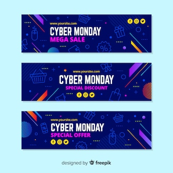 Cyber poniedziałki banery w płaskiej konstrukcji
