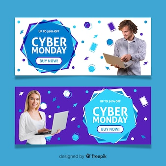 Cyber poniedziałki banery ze zdjęciem w płaskiej konstrukcji