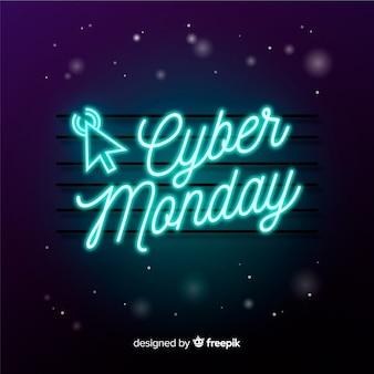 Cyber poniedziałku koncepcja w neon znak