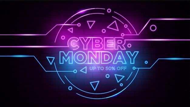 Cyber poniedziałku neon znak tła