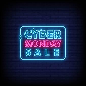 Cyber poniedziałku neonowe znaki styl tekst wektor