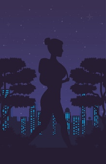 Cyber punk plakat z kobietą w sylwetka krajobraz