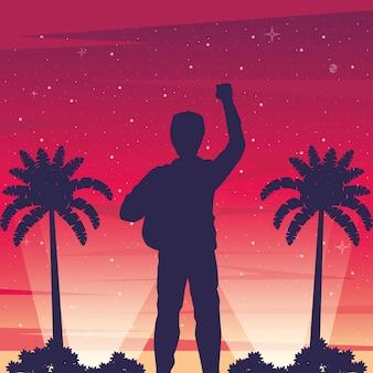 Cyber punk plakat z mężczyzną w krajobrazie sylwetka