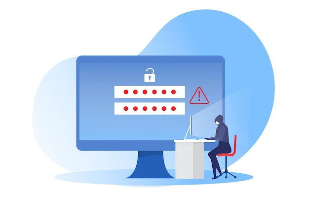 Cyber rabuś siedzi przy stole komputera i atakuje prywatne informacje