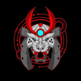 Cyber-samurajski tygrys ilustracja kolorowy