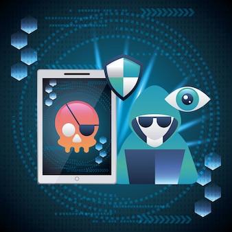 Cyber security niebezpieczeństwo ekran czaszka piractwo przestępczości haker komputerowy alert
