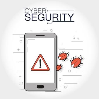 Cyber security smartphone z pluskwami pojęcie