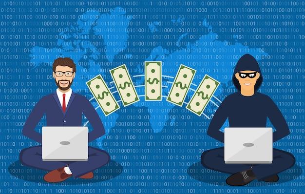 Cyber złodziej, oszust internetowy.