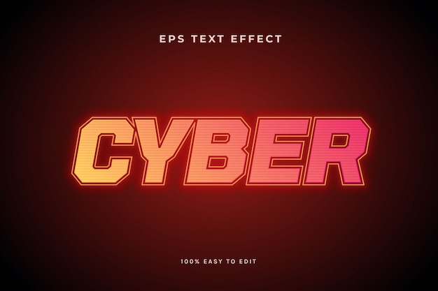 Cyber żółty czerwony efekt tekstowy