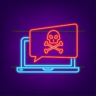 Cyberatak wyłudzanie danych z haczykiem wędkarskim laptop bezpieczeństwo w internecie neonowa ikona