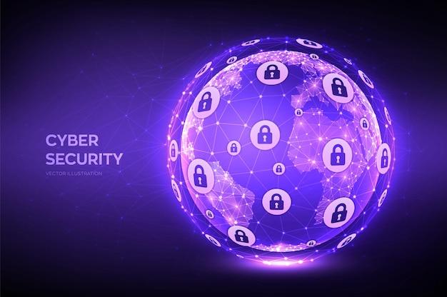 Cyberbezpieczeństwo ilustracja kuli ziemskiej
