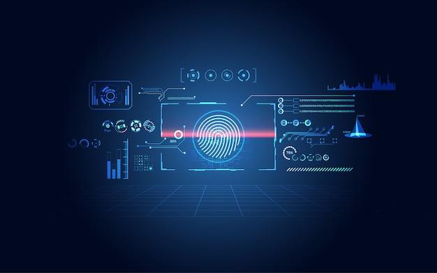 Cyberbezpieczeństwo interfejs użytkownika futurystyczny interfejs hologramu hud