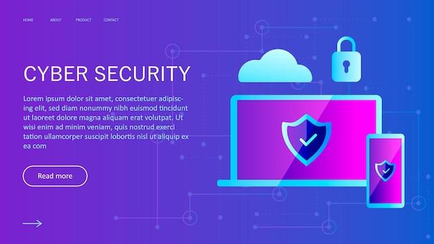 Cyberbezpieczeństwo koncepcja cyberbezpieczeństwa ochrony danych szablon sieciowy dla witryny internetowej
