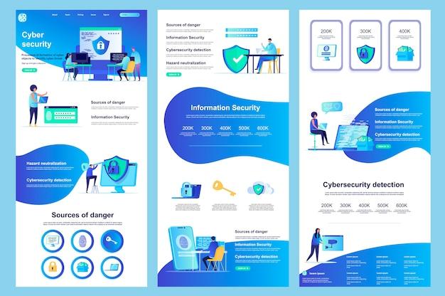 Cyberbezpieczeństwo płaskie szablon strony docelowej strony docelowej środkowa zawartość i znaki stopki