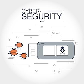 Cyberbezpieczeństwo usb z wirusem