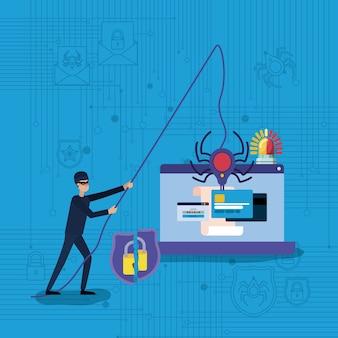 Cyberbezpieczeństwo z laptopem i hakerem