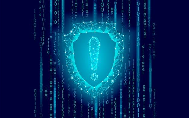 Cyberbezpieczna osłona bezpieczeństwa niski wykrzyknik z poli-