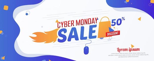 Cybernetyczny poniedziałek 50% sprzedaży szablon banner reklamowy