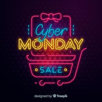 Cybernetyczny poniedziałek koncepcja z neonowym designem