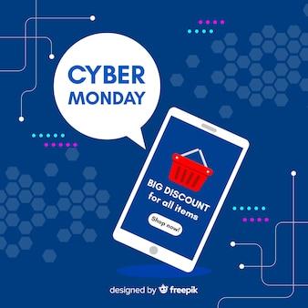 Cybernetyczny poniedziałek koncepcja z płaskim tle