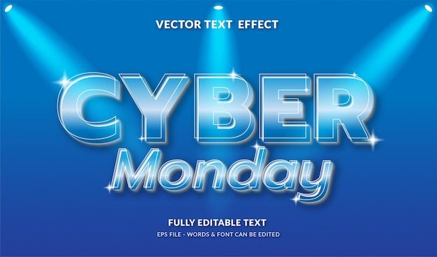 Cyberponiedziałek z edytowalnym efektem tekstowym w nowoczesnym stylu