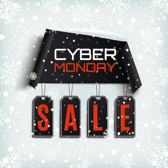 Cyberponiedziałkowa wyprzedaż. zakrzywiony papierowy baner z czarnymi metkami na tle zimowego śniegu i płatków śniegu.