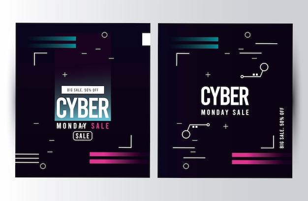 Cyberponiedziałkowe plakaty wyprzedaży z różowymi i niebieskimi liniami ilustracji
