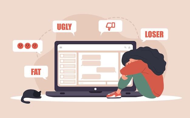 Cyberprzemoc. smutna kobieta odbiera wyskakujące wiadomości z laptopem.