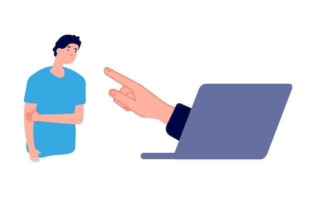 Cyberprzemoc. smutny człowiek i ręka z laptopa. ilustracja wektorowa złożona nękanie w internecie, agresja online lub poczucie winy. zastraszanie w internecie, nękanie społeczne w internecie