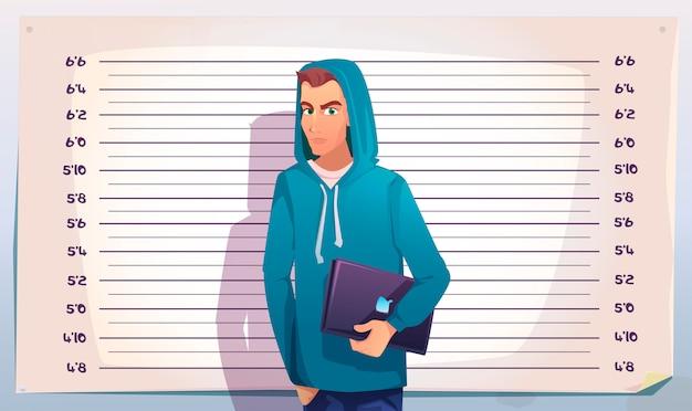 Cyberprzestępczość, hacker mugshot. nastolatek kryminalista it