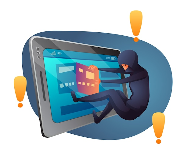 Cyberprzestępczość, ilustracja płaska złamania prawa, złodziej, przestępca w masce postać z kreskówki. bank, kradzież danych kart kredytowych, cyberbezpieczeństwo, ochrona przed atakami hakerów. cyfrowe zagrożenie bezpieczeństwa