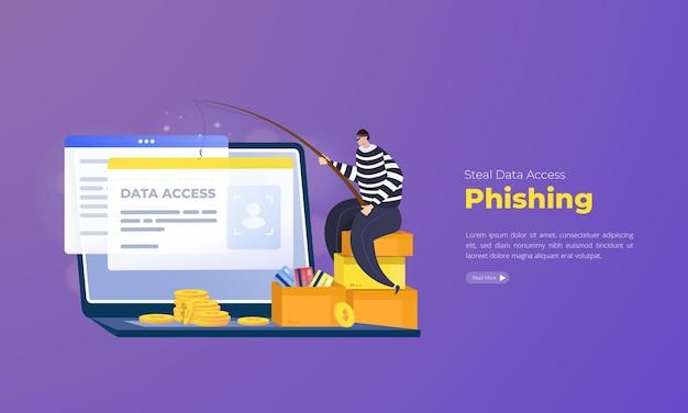 Cyberprzestępczość internetowa phishing koncepcji ilustracji kradzieży dostępu do danych