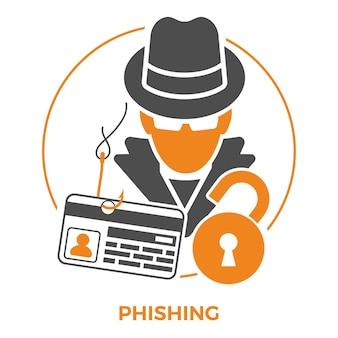 Cyberprzestępczość koncepcja z płaskimi ikonami dla ulotki, plakatu, witryny sieci web na temat phishingu. haker kradnie informacje o karcie kredytowej. ilustracja wektorowa na białym tle