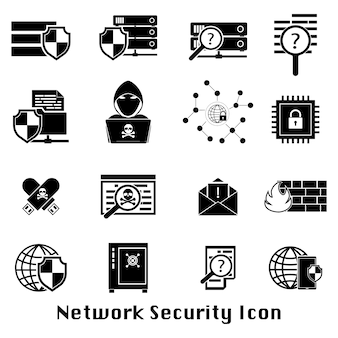Cyberprzestępczości ikona bezpieczeństwa internetu czarny sieci