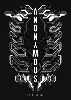 Cyberpunk futurystyczny plakat. szablon plakatu streszczenie tech z elementami hud. nowoczesna ulotka do sieci i druku. hacking, cyberkultura, programowanie i środowiska wirtualne.