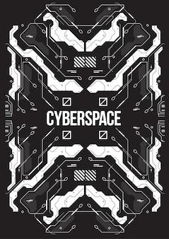 Cyberpunk futurystyczny sztandar z dekoracyjnymi stylowymi elementami.