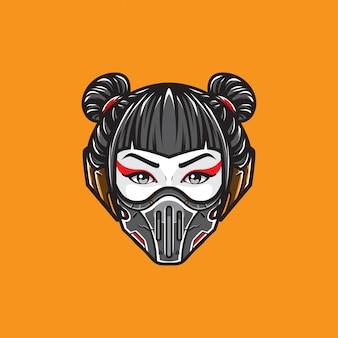 Cyberpunk gejsza głowa strzał logo szablon wektor