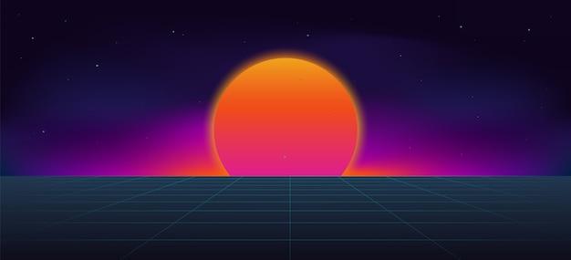 Cyberpunk neonowe tło słońce.
