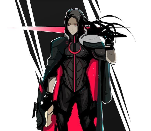Cyberpunk szermierz wojownik z karabinem maszynowym w neonowej okładce w stylu science fiction