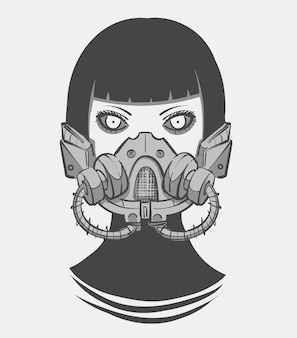Cyberpunkowa dziewczyna w futurystycznym respiratorze scifi