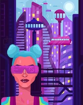 Cyberpunkowa dziewczyna. wirtualna rzeczywistość. ilustracja wektorowa.
