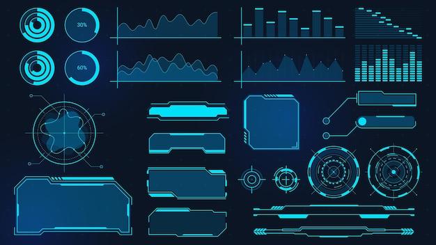 Cyberpunkowe wykresy. futurystyczne cyfrowe wykresy, słupki, diagramy i ramki dla ui, hud i gui. fala dźwiękowa techno, granica i przycisk wektor zestaw. wyświetlacz z danymi do obliczeń, wirtualna gra