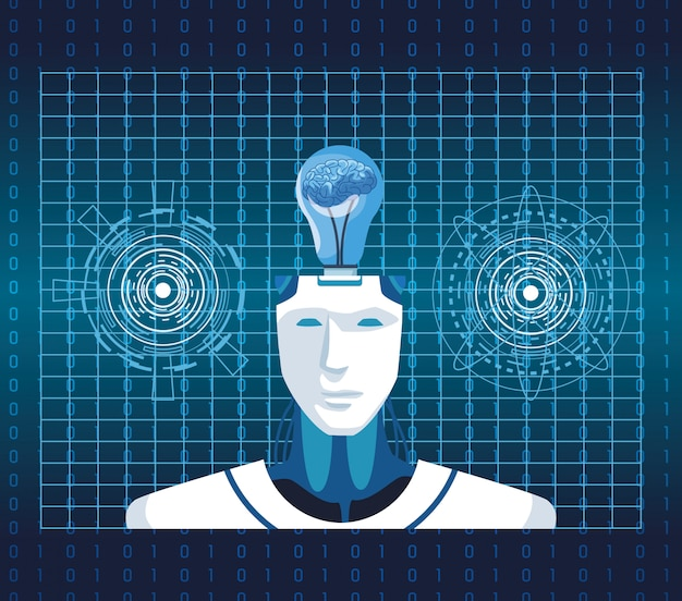 Cyborg technologii sztucznej inteligencji z mózgiem w scenie żarówki vr