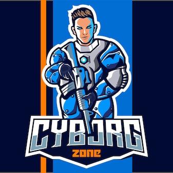 Cyborg z logo esport maskotka pistolet